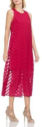 Vince Camuto Sleeveless Chiffon-Stripe Dress
