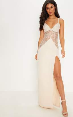 PrettyLittleThing Nude Strappy Lace Insert Maxi Dress