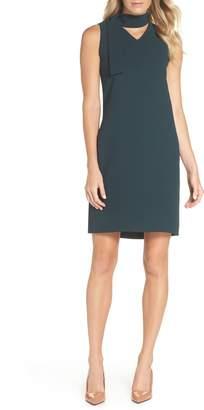 Tahari Sleeveless Choker Neck Crepe Shift Dress
