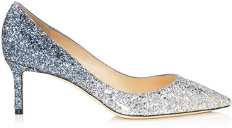 Jimmy Choo ROMY 60 Silver and Dusk Blue Fireball Glitter Degrade Fabric Pointy Toe Pumps