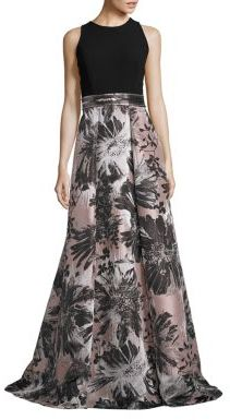 Carmen Marc Valvo Embellished Jacquard A-Line Gown $1,295 thestylecure.com