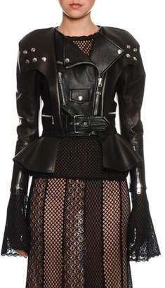 Alexander McQueen Peplum-Hem Leather Biker Jacket