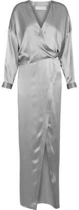 Michelle Mason Wrap-Effect Silk-Charmeuse Gown