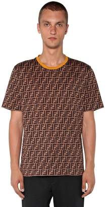 Fendi Allover Logo Printed Cotton T-Shirt