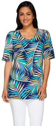 Denim & Co. Palm Printed Elbow Sleeve Knit Tunic with Side Slits