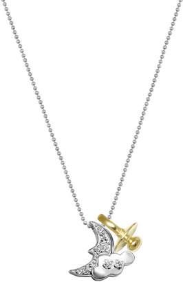 Alex Woo 14K White Gold Little Baby Diamond Moon Charm Necklace - 0.04 ctw