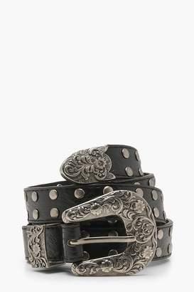 boohoo Plus Western Studded Buckle Belt
