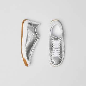 Burberry Perforated Logo Metallic Leather Sneakers