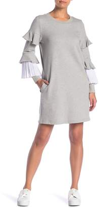 ENGLISH FACTORY Combo Pleat Sweater Dress