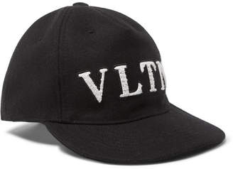 Valentino Garavani Logo-Appliqued Wool Baseball Cap - Men - Black