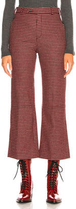 Chloé Houndstooth Wool Crop Flare Trousers in Red & Black | FWRD