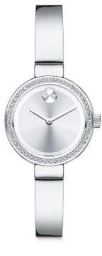 Movado Bold Diamond and Stainless Steel Bangle Bracelet Watch