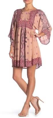 Angie Paisley Print Kimono Sleeve Mini Dress