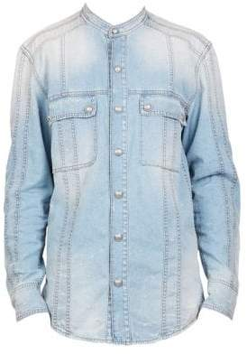 Balmain Men's Washed Denim Band Collar Shirt - Blue - Size 40 (15.75)