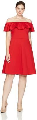 Star Vixen Women's Plus-Size Stretch Fit-n-Flare Peasant Ruffle Dress