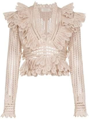 Zimmermann Battenberg cropped silk-blend lace top