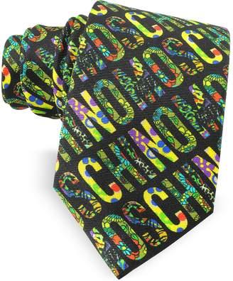 Moschino Black & Multicolor Print Twill Silk Narrow Tie