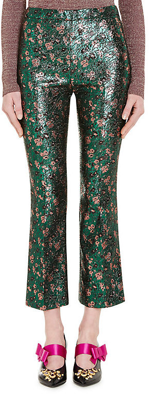 Prada Women's Floral Jacquard Crop Pants