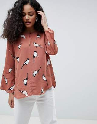 MBYM Printed Collarless Blouse