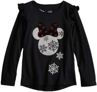 Princess Girls Disneyjumping Beans Disney's Minnie Mouse Girls 4-12 Glittery Holiday Graphic Top by Jumping Beans