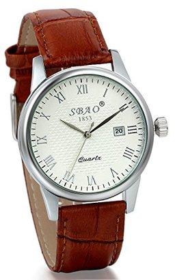 958fbd4003 JewelryWe 2個セット レザーバンド ウオッチ 腕時計 カレンダー機能付き ローマ字 文字盤 上品 ファション