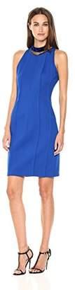 T Tahari Women's Emebellished Choker Bristol Dress