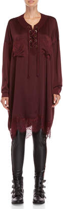 Faith Connexion Burgundy Lace Trim Silk Tunic