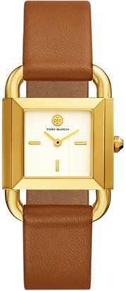 Tory Burch PHIPPS WATCH, LUGGAGE LEATHER/GOLD-TONE, 29 X 41 MM