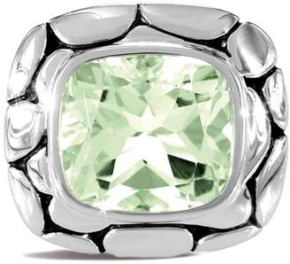 John Hardy Sterling Silver Green Amethyst Square Ring - Size 7