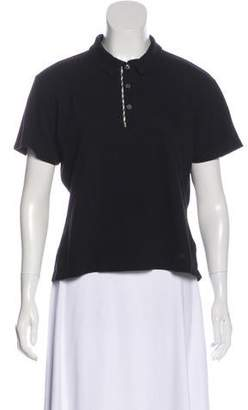 Burberry Pointed Collar Short Sleeve Top