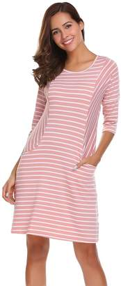Meaneor Women's 3 4 Sleeve Striped Casual Loose T-Shirt Dress With Pocket