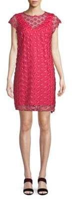 Floral-Embroidered Mesh Shift Dress
