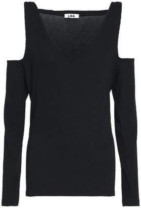 LnA Ribbed-Knit Cold-Shoulder Top