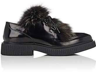 Barneys New York Women's Fur-Trimmed Leather & Suede Oxfords