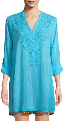 Johnny Was Eyelet-Embroidered V-Neck Tunic