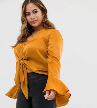 Missguided Plus satin tie side blouse in copper