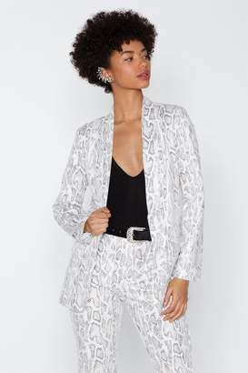 Nasty Gal Snake a Minute Relaxed Blazer