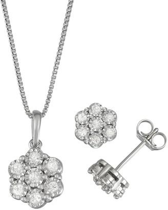 Unbranded Women's Sterling Silver 1/2 CT Diamond Pendant & Earring Set