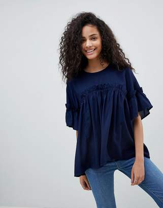 Asos Design Oversized Smock Top with Ruffle Detail