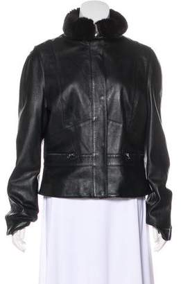 Laundry by Shelli Segal Faux-Trimmed Leather Jacket