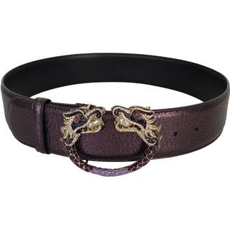 Gucci Purple Leather Belts