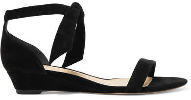 Alexandre Birman Alexandre Birman - Atena Bow-embellished Suede Wedge Sandals - Black