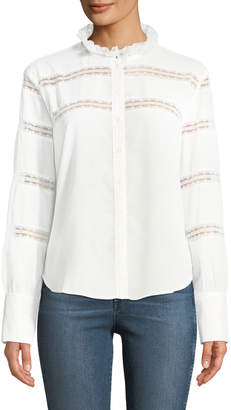 Few Moda Lace-Striped Button-Front Blouse