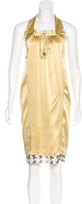 Matthew Williamson Sleeveless Silk Halter Dress Yellow Sleeveless Silk Halter Dress
