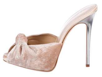 Giuseppe Zanotti Velvet Peep-Toe Sandals
