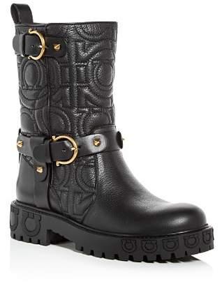 Salvatore Ferragamo Women's Bormio Quilted Leather Moto Boots