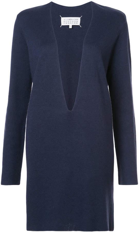 deep V-neck sweater dress