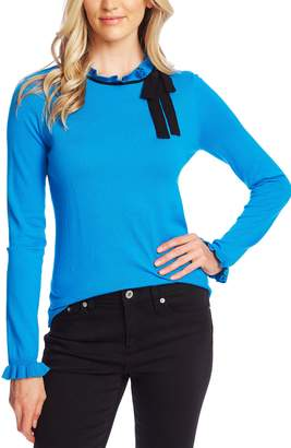 CeCe Ruffle Bow Neck Sweater