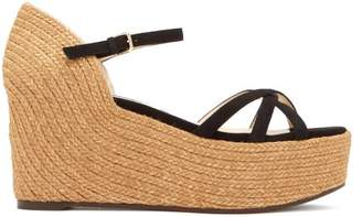Jimmy Choo Delany 80 Suede Wedge Sandals - Womens - Black