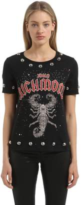 John Richmond Studded & Printed Cotton Jersey T-Shirt